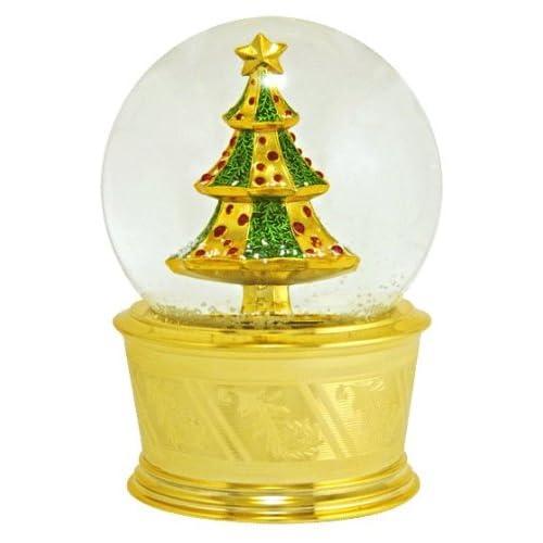 Golden Christmas Tree Snow Globe