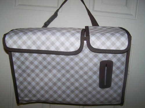 Thirty One Taupe Gingham Pack N' Pull Caddy front-910228