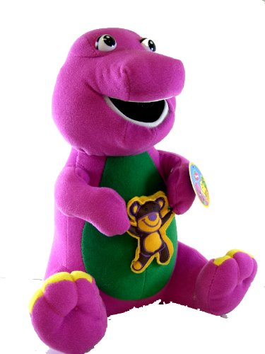 Barney Plush w/ Bear -10 in holding Teddy Bear