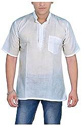 Govind Chikan Men's Cotton Kurta (Kurta Mohak HN_M, White, M)