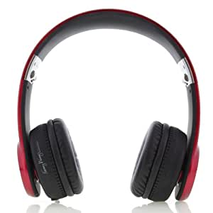 Fanny Wang Red Metallic On-Ear Headphones with In-line Remote, Ruby Red Metallic (FW-1004-REDMTL)
