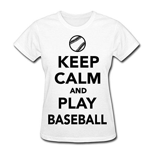 Women'S Keep Calm Play Baseball 100% Cotton T Shirt Size Xs Color White
