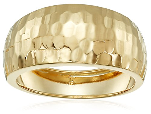 14k Yellow Gold Italian Diamond-Cut Dome Band Ring, Size 7 (Gold Italian Ring compare prices)