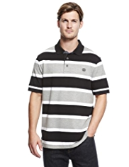 Blue Harbour Pure Cotton Block Striped Piqué Polo Shirt