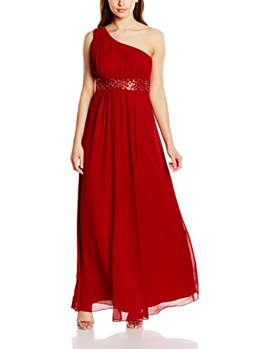 Astrapahl Damen Kleid One Shoulder mit Pailletten, Maxi, Einfarbig, Gr. 32, Rot