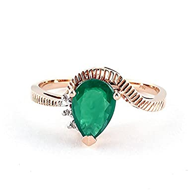 QP Jewellers Natural Diamond & Emerald Ring in 9ct Rose Gold, 1.0ct Pear Cut - 4257R