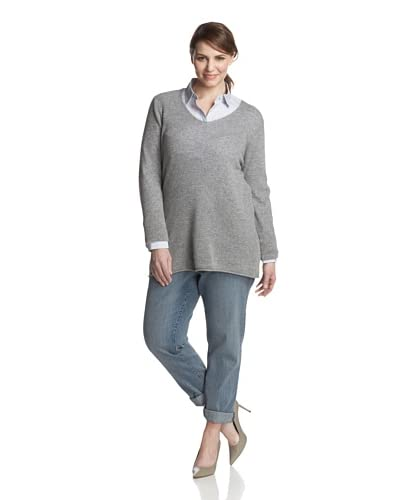 Kier & J Plus Women's V-Neck Cashmere Sweater