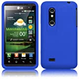 XYLO Accessory Bundle: Blue SuperTUFF Silicone Skin Case Cover, Xylo ClearICE LCD Screen Protector and In Car Charger for the LG Optimus 3D (P920) Mobile Phone.