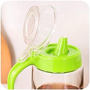 Cleno House 500ml Glass Oil / Vinegar Bottle Oiler Vinegar Sauce Seasoning Pot Container Spice Jar and Lid Kitchen Accessory Novelty Household
