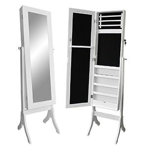 schmuckschrank mit spiegel 161x47x38cm holz spiegelschrank. Black Bedroom Furniture Sets. Home Design Ideas