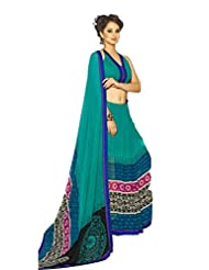 AG Lifestyle Sea Green Georgette Saree With Unstitched Blouse SNS224A