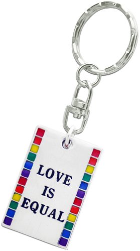 """""""Love Is Equal"""" Gay Pride Rainbow Flag Keychain Pocket Clip Ring, Fine Pewter Jewelry"""