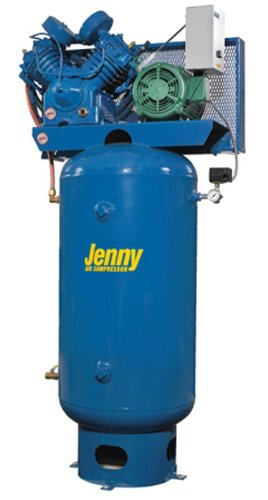 Jenny U75B-80V Two Stage Vertical Electric Stationary Compressor with U Pump, 80 Gallon Tank, 3 Phase, 7.5 HP, 460V