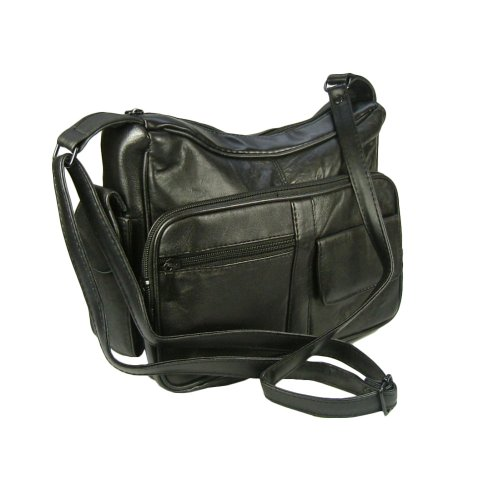 Genuine Leather Handbag with Cell Phone Holder & Many Pockets (Black)