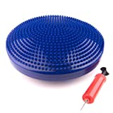"Exervo Balance Disc Cushion For Chair and Exercise, Inflatable With Pump, 14"" Diameter, Blue"