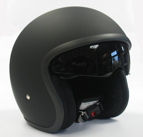 Viper RS-V06 Open Face Drop Down Visor, Motorcycle Crash Helmet Matt Black Large
