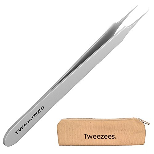 Professional Pointed Ingrown Hair Splinter Tip Tweezers - Tweezees Precision Stainless Steel Tweezers - Extra Sharp and Perfectly Aligned for Ingrown Hair Treatment & Splinter Removal (Brow Finishing Wax compare prices)
