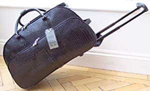 Travel bag on wheels BLACK Patent Mock Snakeskin trolley holdall luggage weekend or overnight bag wheeled