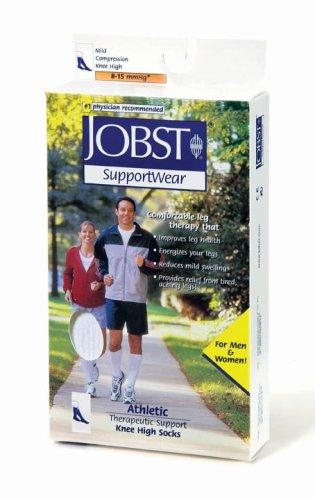 JOBST Athletic Knee-High Socks, 8-15mmHg, Small, White, 1/Pair, JOB110449