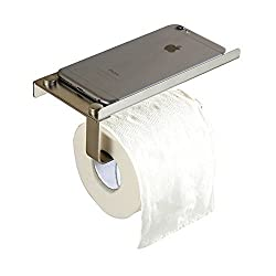 MyLifeUNIT Wall Mount Smartphone Hanging Rack Organizer, Stainless Steel Toilet Paper Holder with Mobile Phone Storage Shelf