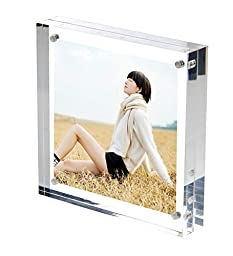 NIUBEE Clear Mirrored Modern Magnetic Acrylic Picture Frame 5x5\