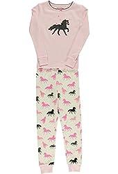 Hartstrings Little Girls Long Sleeved Horse Print Pajama Set