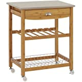 """Sandusky Lee MKT282034 Wood Kitchen Utility Cart with Stainless Steel Top, 28"""" Length x 20"""" Width x 34"""" Height, Natural Wood"""