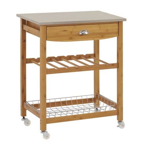 Sandusky lee wood kitchen utility cart stainless steel top for Kitchen utility cart