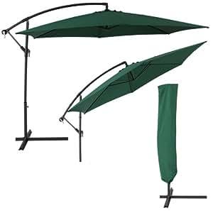 TecTake Parasol excentré original octogonal aluminium + uv protection 3,50 m vert + housse de protection