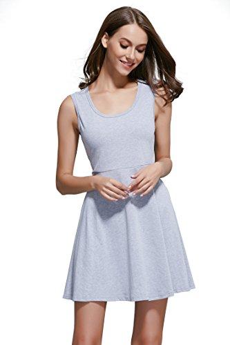 Msshe Women's Casual Crewneck Knit Cotton Dress (Medium, Grey)
