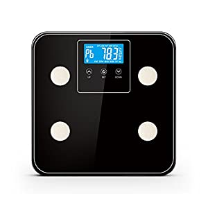 Yuancin Body Fat Scale Body Scale Bathroom Scale with Tempered Glass, 180kg/400lb Weight Capacity, 10 Users Auto Recognition, Measures Weight, Bone Weight,Body Fat, Water, Muscle, Calorie and BMI, Black from Yuancin