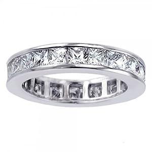 3.70 CT TW Princess Cut Diamond Eternity Wedding Band in Platinum Channel Setting - Size 5.5