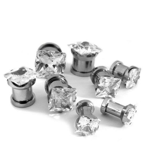 (4 Gauge ~ 5Mm) 1 Pair Of Clear Cz Diamond Stud Stainless Steel Tunnel Plugs