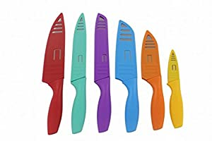 Lightahead Stainless Steel Kitchen Knife Set 6 Knives set with PP shell- Chef, Bread, Carving, Paring, and 2 Santoku Knife Cutlery Sets - Multicolor Sharp Vibrant Stylish Kitchen Knives