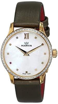 """Marvin Women's """"M020.61.74.98"""" Malton Gold-Tone Watch with Diamond-Accented Bezel and Green Band"""