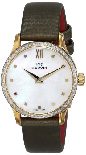 Marvin-Womens-M020617498-Malton-Gold-Tone-Watch-with-Diamond-Accented-Bezel-and-Green-Band