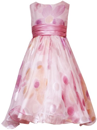 Rare Editions Girls 7-16 ROSE-PINK TONAL FLORAL SHEER OVERLAY Special Occasion Wedding Flower Girl Party Dress RRE-29070E-E429070-14