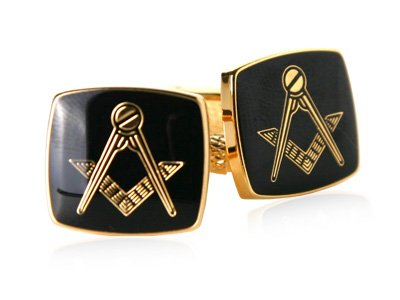 Black Enamel Masonic Compass & Set Gold Cufflinks with Gift Box