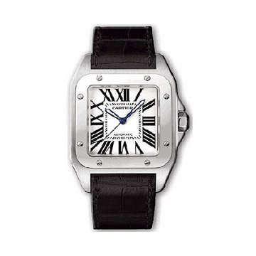 Cartier Midsize W20106X8 Santos 100 Automatic Leather Watch