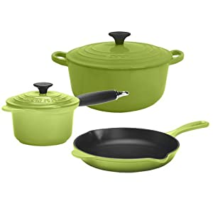 Click to buy Cookware Reviews: Le Creuset Essential Enameled Cast-Iron 5-Piece Cookware Set, Kiwi from Amazon!