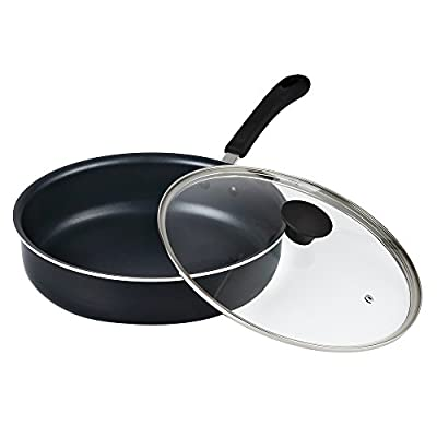 "Cook N Home 02435 Non-Stick Deep Sauté Fry Pan/Jumbo Cooker Cookware with Lid, 11"", Black"