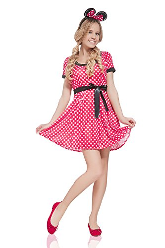 Women's Retro Miss Mouse Dress Up & Role Play Halloween Costume (One Size - Fits All) (Unique Adult Halloween Costumes Ideas)