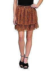 Kiosha Brown Georgette Short Skirt For Women