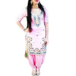 Reet Glamour Women 's Cotton Unstitched Pink Embroidered Punjabi Suit