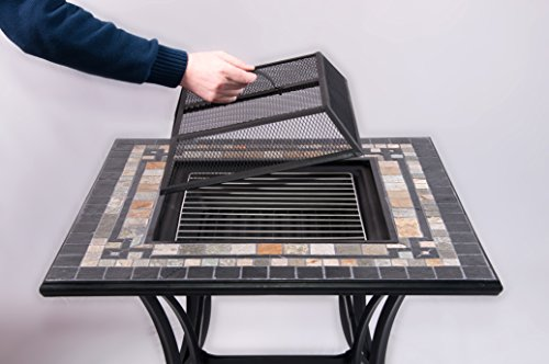 Mosaic Dining Table With Built In Barbecue / Fire Pit Includes Table Panel, Spark Guard & Grill