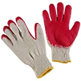 PlexGlove String Knit Red Palm Gloves, Large, 10 Pack