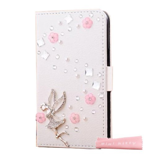 MINI KITTY- High quality luxury lovely elegant romantic 3D Bling tinkerbell girl pink flower Crystal Rhinestone PU Leather Flip Wallet Case Cover for iPhone 5 5S 5G ,as a good gift