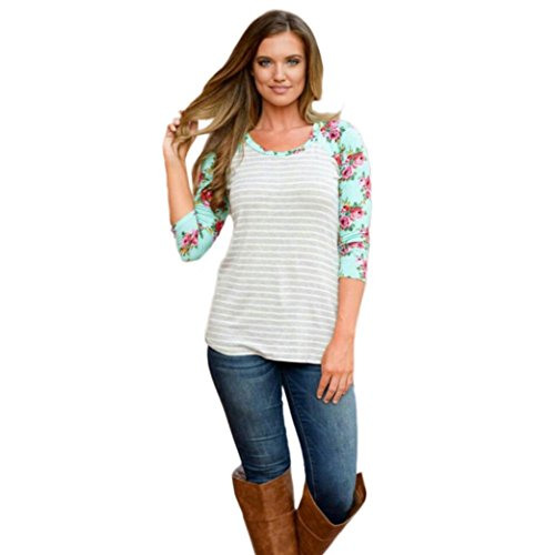Fheaven Womens Ladies Floral Stripe Printing Round Neck Pullover Blouse Tops Shirts (L)