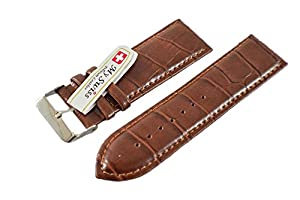 Synthetic Leather Watch Band Crocodile Pattern Width 26 mm. Brown Color