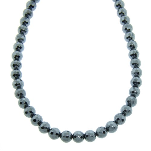 8mm Hematite Gemstone Macrame Necklace, 30